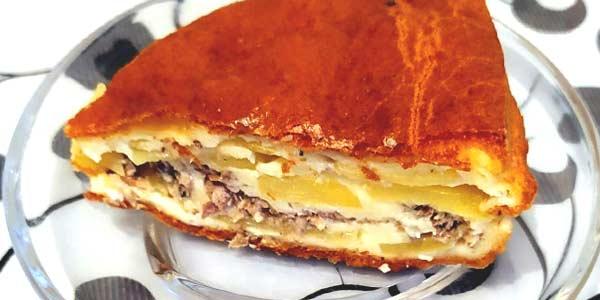 Рецепт пирога с сайрой, картофелем или рисом фото